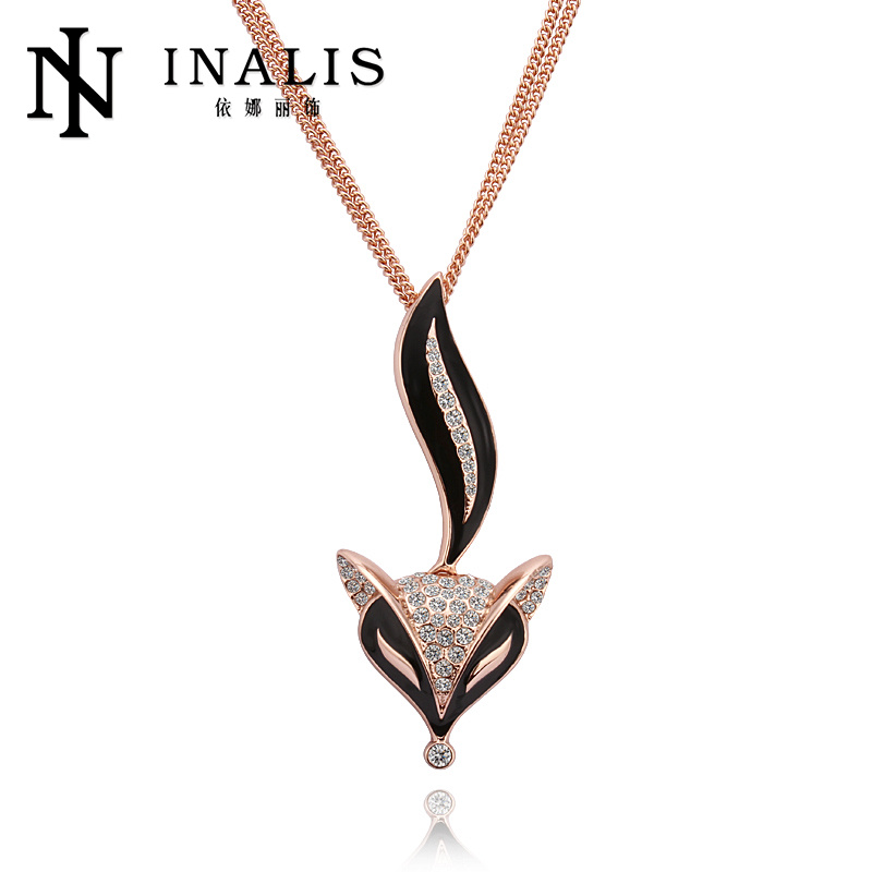 2014 SGS Certified Mix order sweater chain gold plated fox pendant necklace <strong>M007</strong>