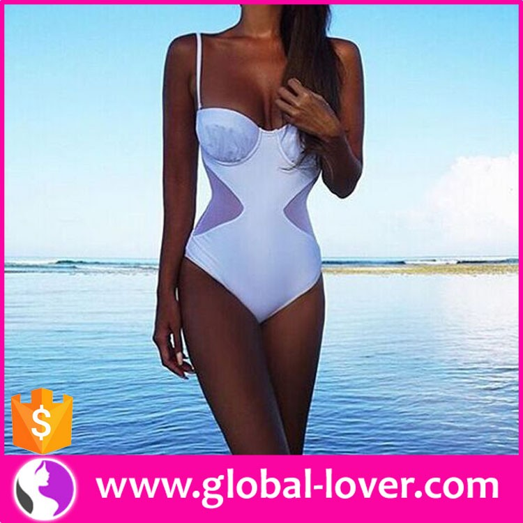 hot sell beautiful women one piece sexy sheer sports bathing suits