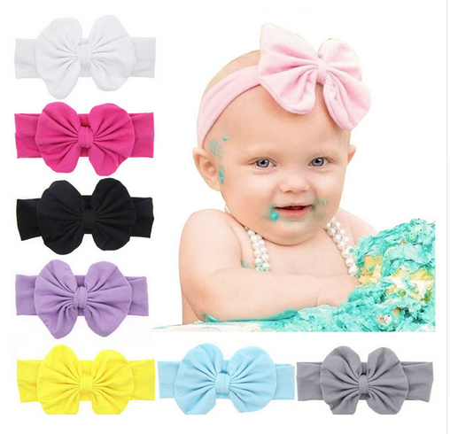 Hot sale baby girl striped fabric microfiber hair accessories bow tie headband for baby