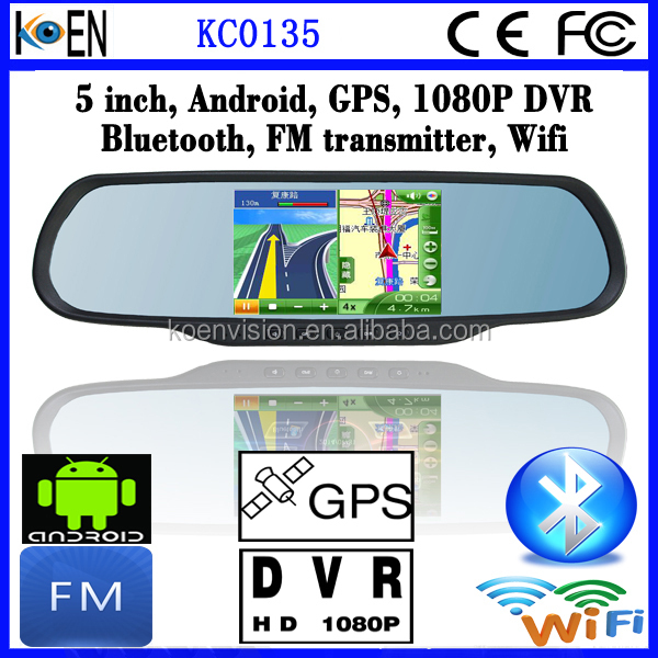 2015 FM Wifi 5.0 Inch Touch Screen 1080P DVR Bluetooth Rearview Mirror For Fiat Doblo Car GPS Navigation