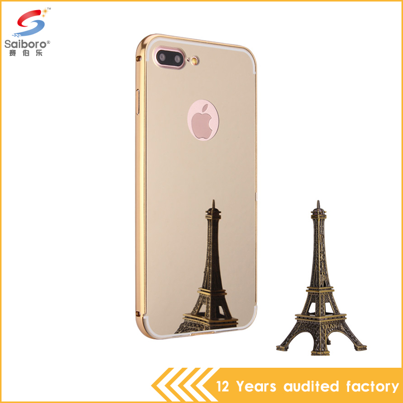 hot products 2017 Luxury Aluminum Bumper PC Mirror Back Metal Case Cover for iPhone 7 plus flip case