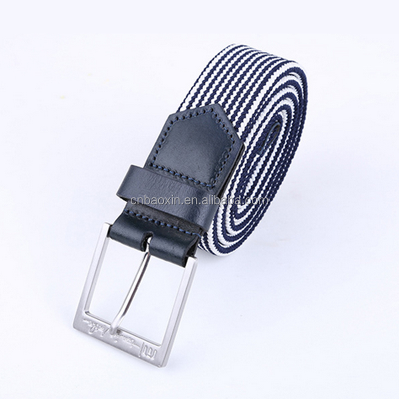 Fashion PU plaited weaving mens elastic stretch belts
