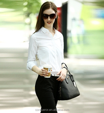 Latest Design Long Sleeve Office Lady White Dress Shirt