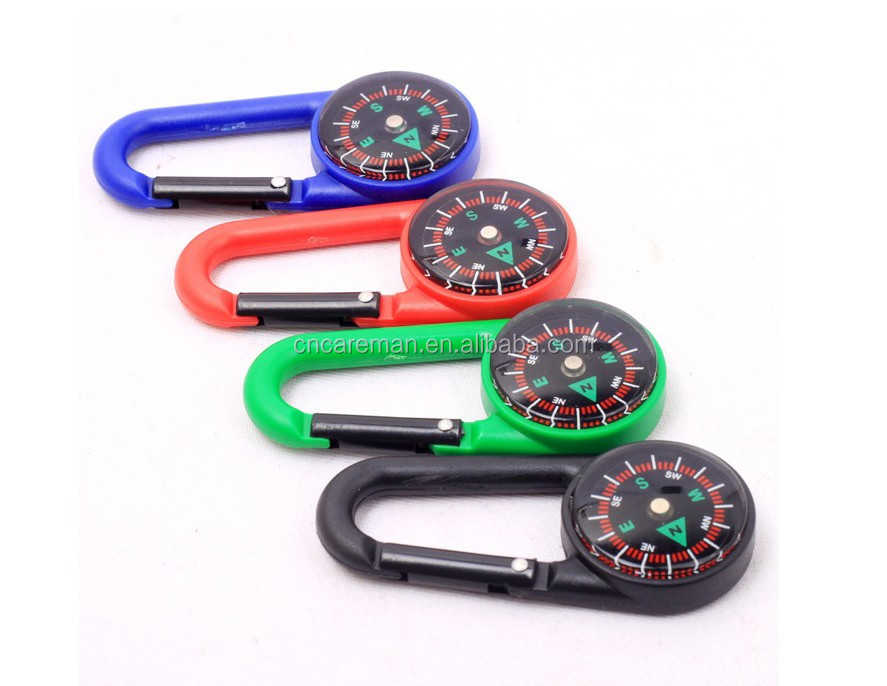 Single Sided Plastic Carabiner Compass, Promotion Gift Mini Plastic Compass Carabiner/Snap Hook Compass Customization Accepted