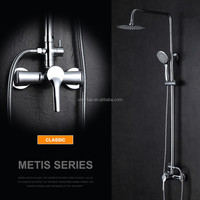 Luxury Chrome Brass Rain Waterfall Shower Set Faucet Wall Mounted with ABS Handshower