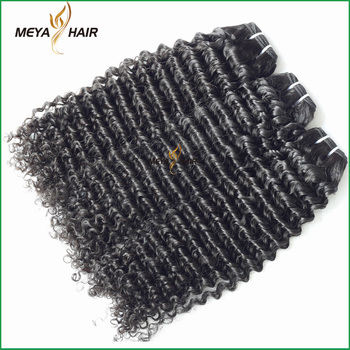 Guilin Meya hair factory Brazilian raw human hair bulk small curly hair extension