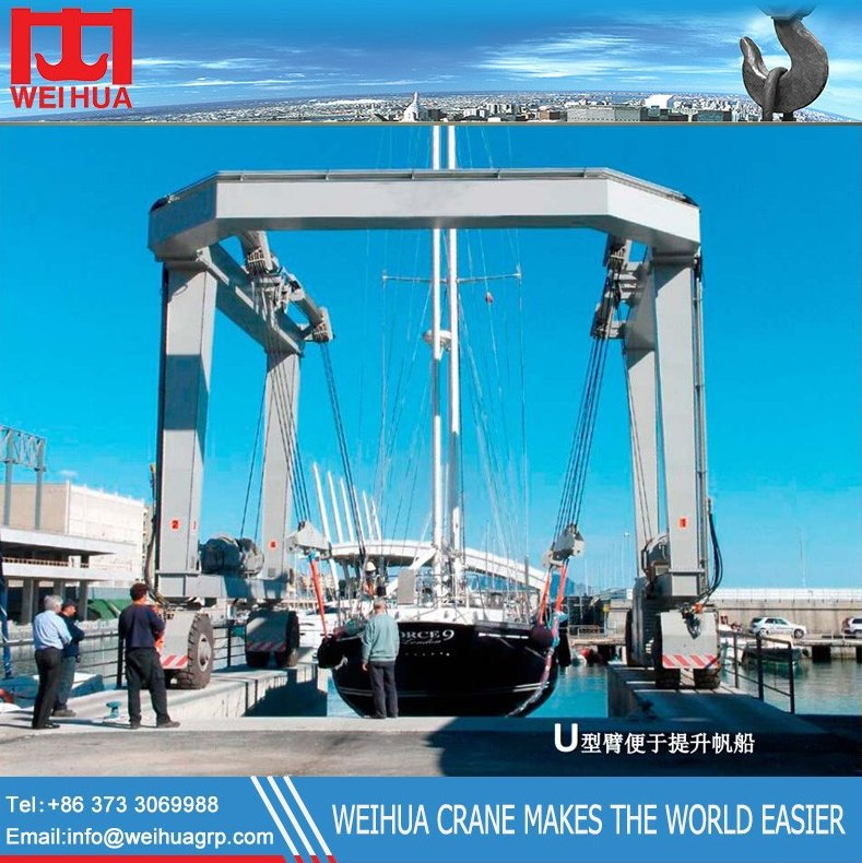 china Travel lift crane, shipyard crane, mobile boat hoist
