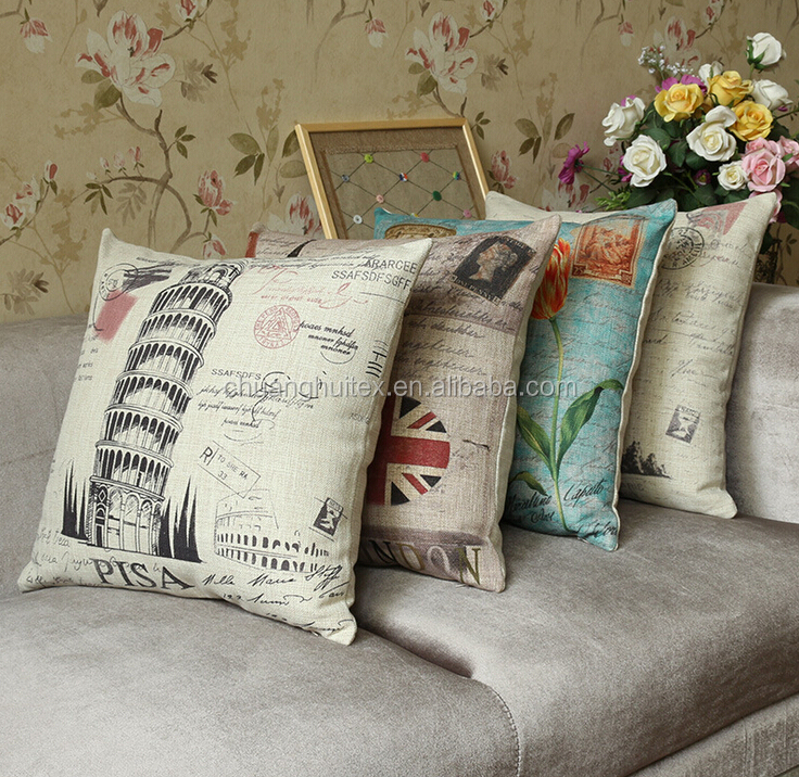 European style linen cotton printed cushions home decor