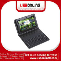 "Newest Wireless Bluetooth Keyboard & PU Leather Case for 7"" BlackBerry Playbook Tablet PC Black Free Shipping"