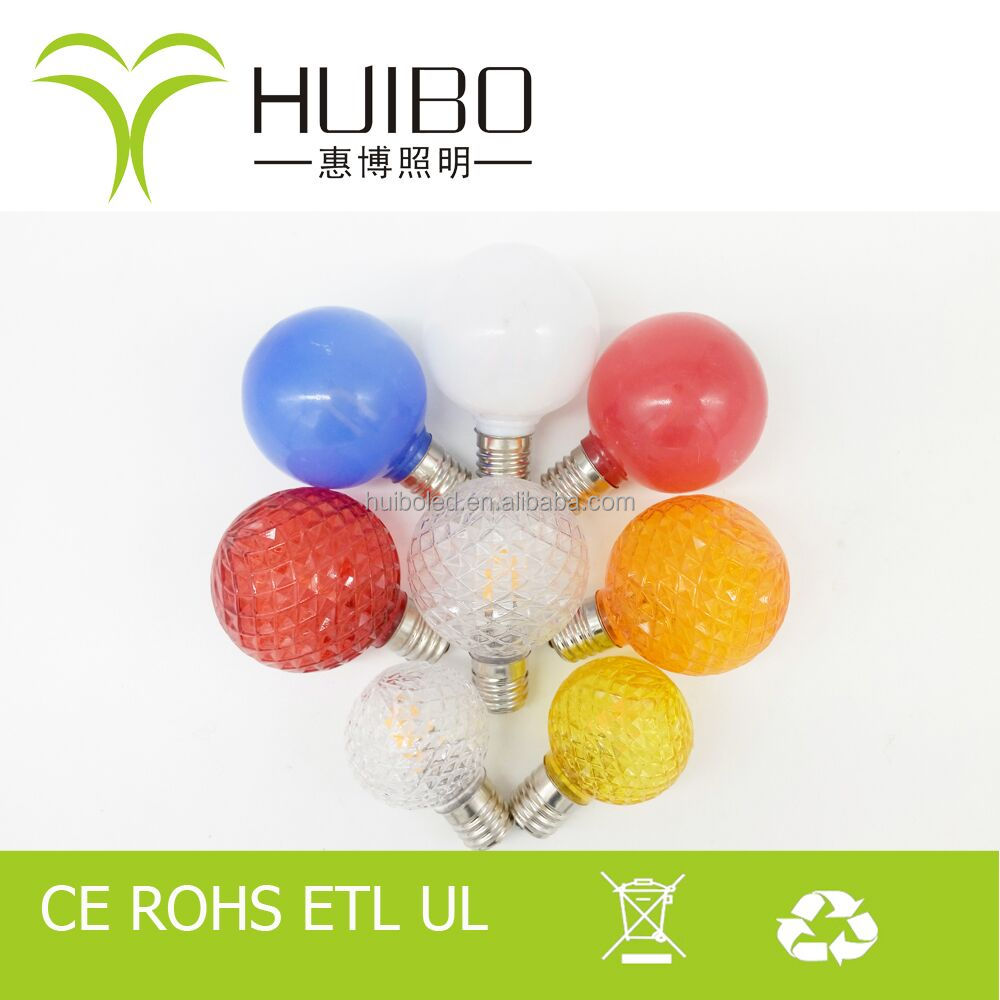 2017 new arrival energy saving colorful christmas tring glass plastic 1w G50 LED bulbs CE UL ERP