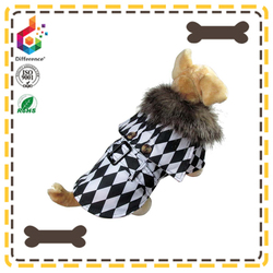 black fashion Louis checkerboard dog rain hat coat