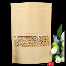 Kraft Paper Clear Window Food Packaging Flat Bottom Plastic Lined Aluminum Foil Zip Lock Bags