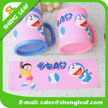 cute animal 3D PVC rubber mug mugs for kids, soft PVC rubber mug cup