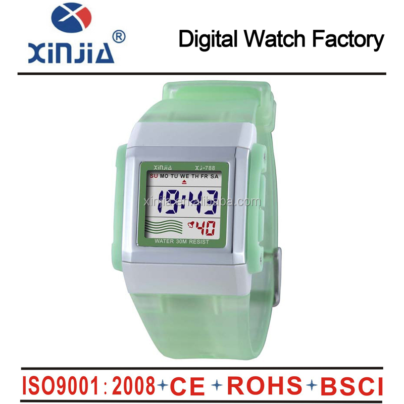 New fashion water resistant 3atm stopwatch digital sport watch for lady