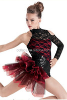 MBQ345 Adult red lycrial black lace one sleeve tank leotard child Jazz puffy tap Dance costume