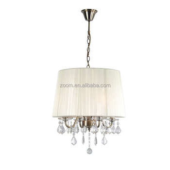 Hot sell spainish style white fabric shade pendant crystal lamp for home decoration