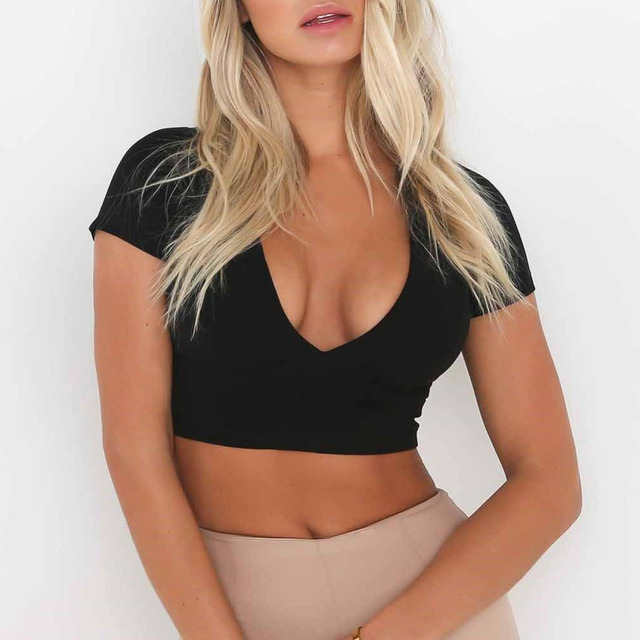 Sexy Women Bodycon Crop Top Hollow Out Lace Up V-Neck Short Sleeves Casual Top Blouse Black/White/Pink