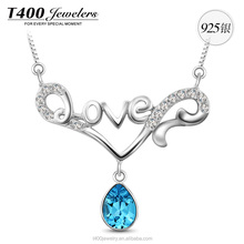 T400 wholesale 925 sterling silver fashion jewelry pendant necklace make with Swarovski elements