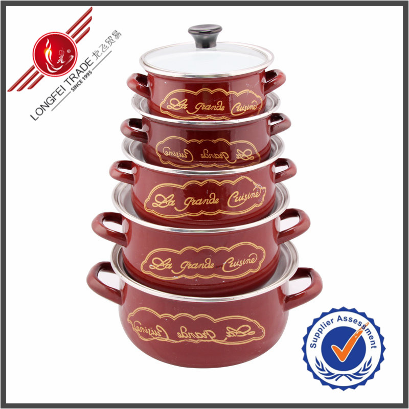Wholesale China Supplier 5 Piece Traditional Kitchenware Enamel Cookware