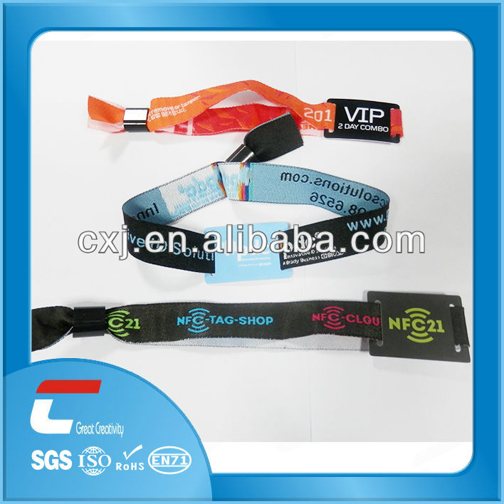 self-locking woven smart id card wristband
