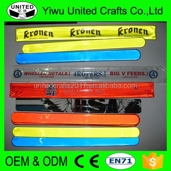 EN13356 high visibility great for cycling and running protective Reflective Wrist Ankle Snap Slap Band