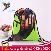 Promotion wholesale funny heat transfer printing colourful teens school drawstring backpacks