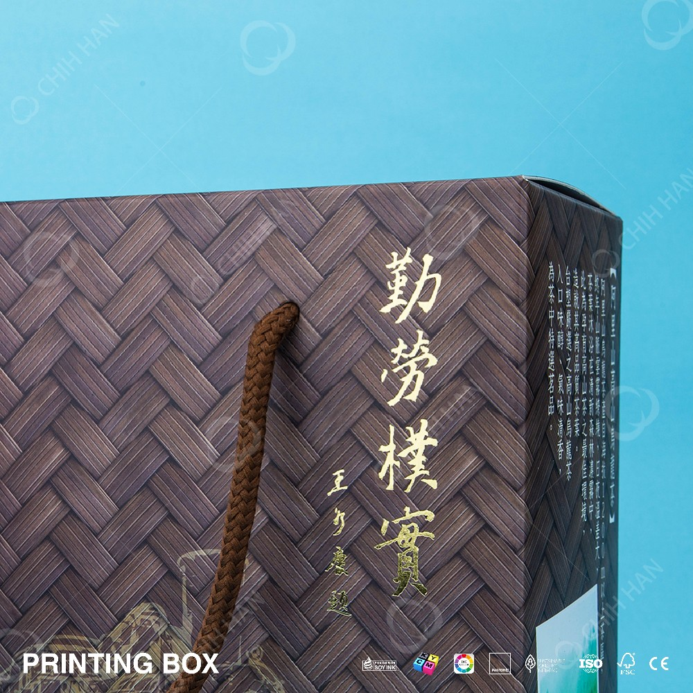 Fashion gold stamping Print Paper Bag Gift Packaging Box