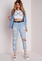 ripped distressed slim wholesale custom 100% cotton women ripped jeans plus size /ripped jeans women light blue plus size jeans