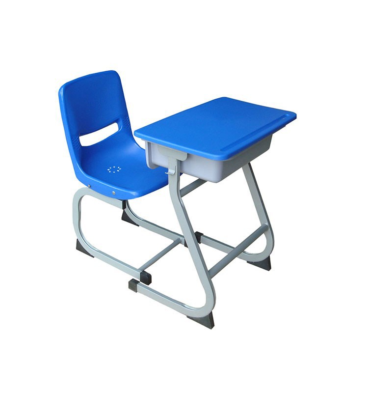 Plastic single student desk and chair
