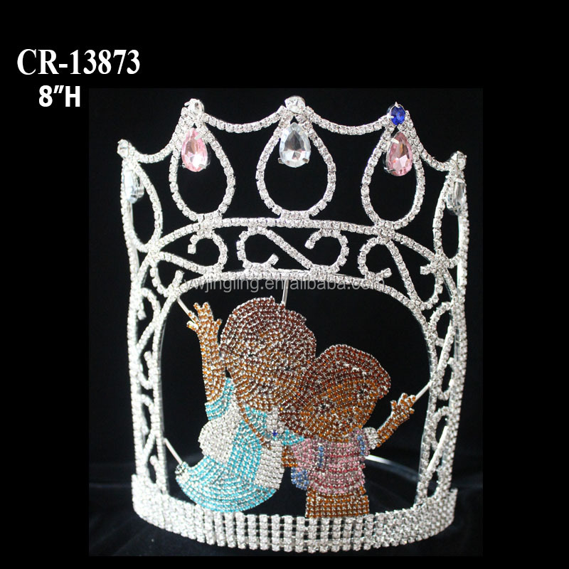 Let go to school Rhinestone princess pageant crown for grils