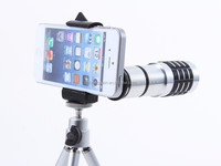 12X Zoom ABS Telephoto Lens Camera For iPhone 5 with Tripod Holder PC Case 18 angle Aluminum cellphone Telescope Shipping