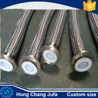Low friction CS/SS flange joint flexible ptfe lined hose with metal braid