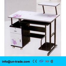 Tempered black glass computer desk