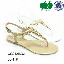 2016 ladies slide summer rhinestones beaded formal pu washable flat slipper sandals