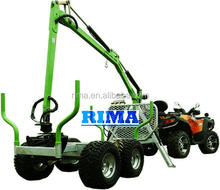 ATV timber trailer with grapple crane