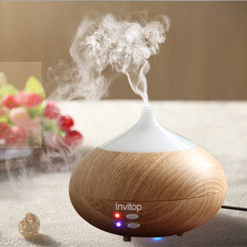 Now wholesale rechargeable wood grain aromatherapy essential oil diffuser ultrasonic private label with 7 night light