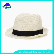 Wholesale cheap latest fashion lady straw hat white fedora hats with black band