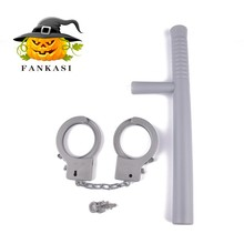Plastic police toy set handcuffs&baton for party