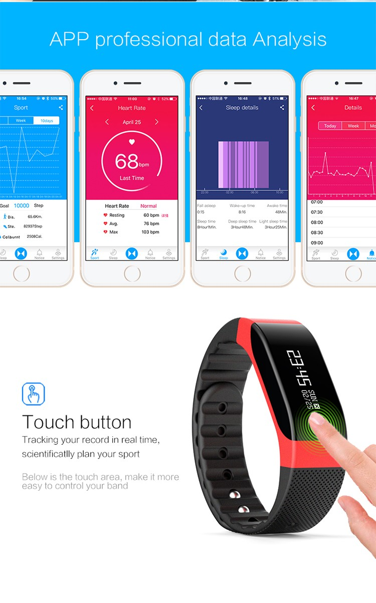 "0.88"" OLED touch screen bluetooth 4.0 smart bracelet wristband sport watch IP65 waterproof"