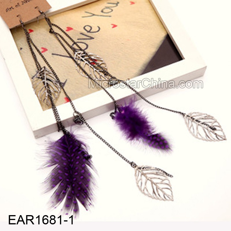 2015 Bohemian Exaggerated Long Leaf Shape Feather Earrings