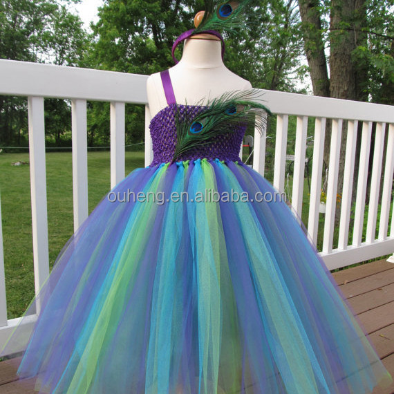 Peacock Feather Themed Wedding Flower Girl Tutu Dress With Matching Headband Size 2-8 Y