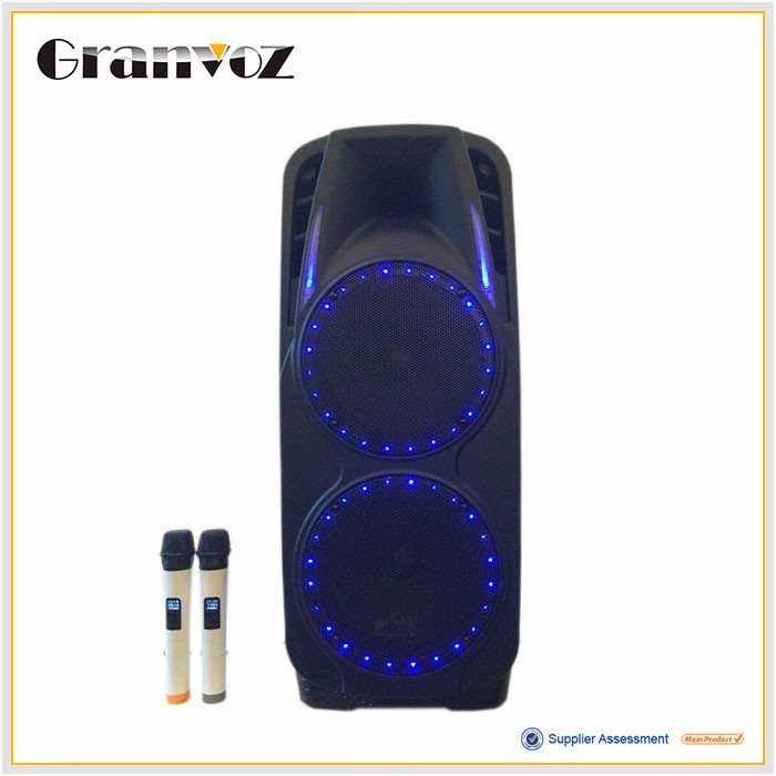 "Professional double 10"" plastic portable music box speaker with blue LED"