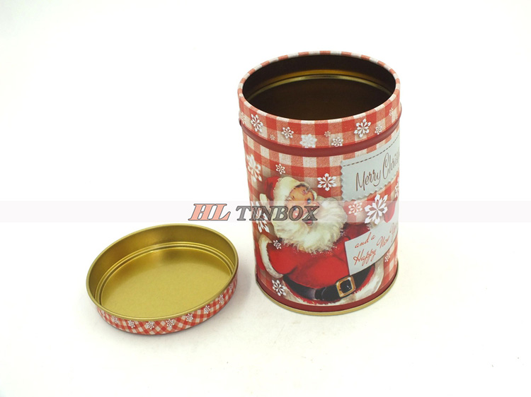 Christmas Round Tin Cans Set Metal Tin box Set for Christmas