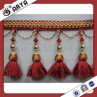Long Novel Curtain Lace Trimming,Tassel Fringes and Trims with Red Tassel and Clear Beads