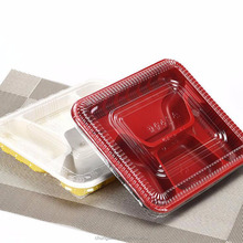 PP Black & Red Disposable Plastic Lunch Box with Cover