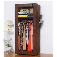 Small compact non-woven fabric wardrobe with cover 10120