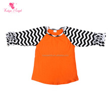 Manufactured Products Children Boutique Clothing Baby Top Shirts Girls Blank Ruffle Sleeve T Shirt