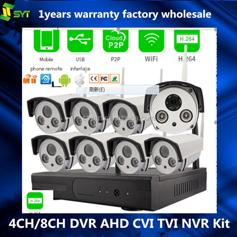 8CH 720P HD Wireless Video Security Camera System NVR Kits,4PCS 720P Wireless Weatherproof Bullet IP Cameras,Plug