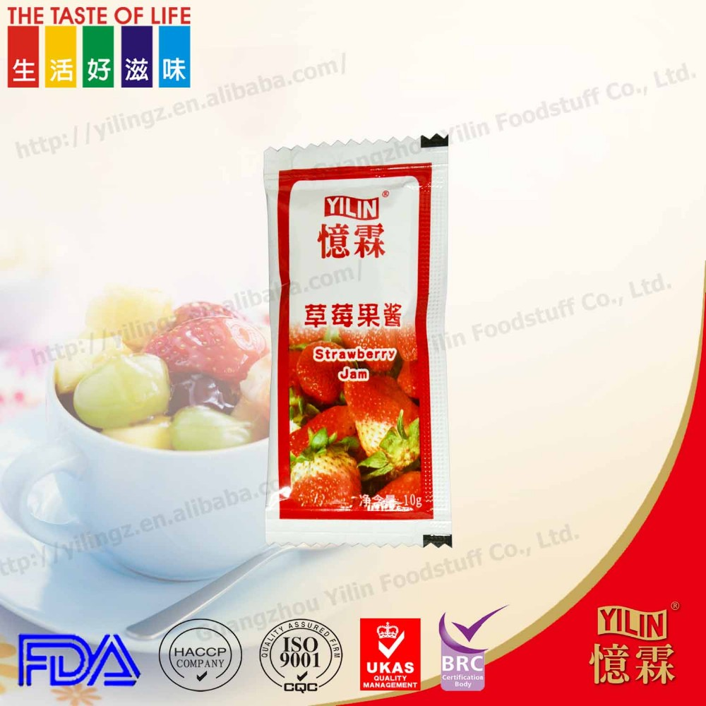 Chinese manufacturing good taste 10g OEM strawberry fruit Jam for bread