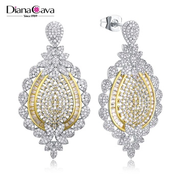 Hot 2018 Design 2-Tone White Gold Plated Fashion Wedding Jewellery Drop Earrings for Ladies
